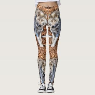 White Arctic Wolf Wildlife design Leggings