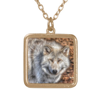 White Arctic Wolf Wildlife Portrait Gold Plated Necklace