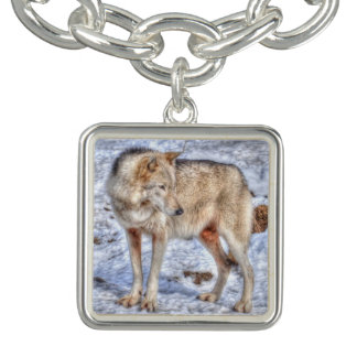White Arctic Wolf Wildlife & Snow Photo Charm Bracelets
