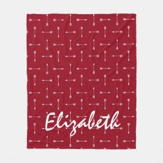 White Arrows on Red Personalized Fleece Blanket