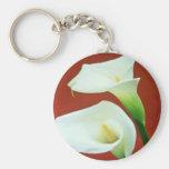 white Arum lily flowers Basic Round Button Keychain