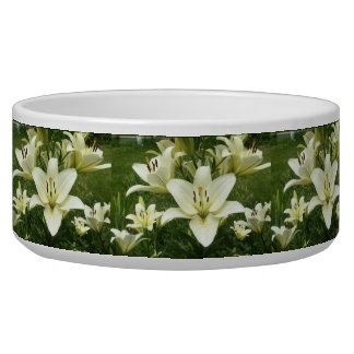 White Asiatic Lilies Bowl