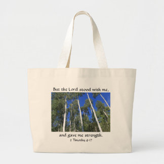White Aspen Trees Bible Verse about God's Strength Large Tote Bag
