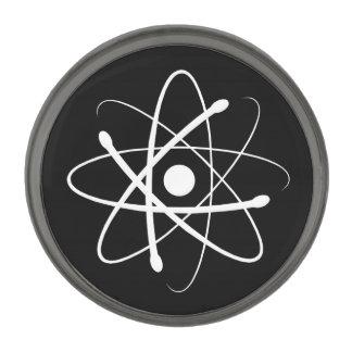 White Atom Gunmetal Finish Lapel Pin