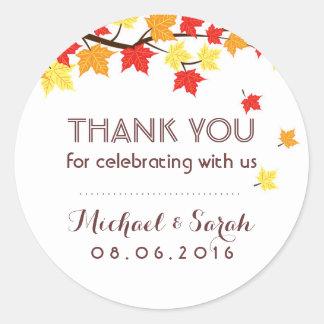 White Autumn Maple Leaves Fall Thank You Sticker