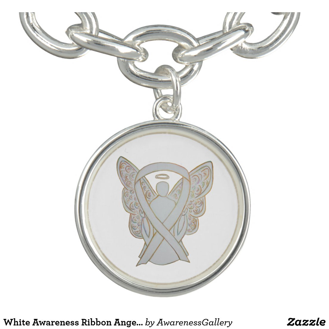 White Awareness Ribbon Angel Art Charms Bracelet