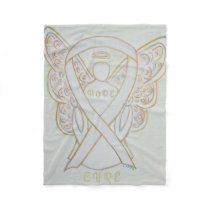 White Awareness Ribbon Angel Bone Cancer Blankets