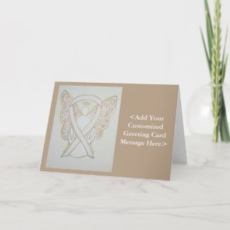 White Child Adoption Awareness Ribbon Guardian Angel Greeting or Note Cards
