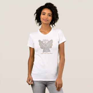 White Awareness Ribbon Guardian Angel Custom Cause Shirts