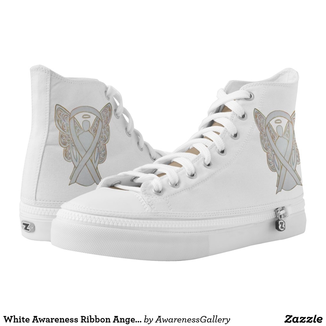 White Awareness Ribbon Child Adoption Angel Custom Design Shoes