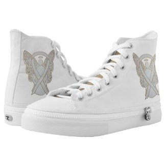 White Awareness Ribbon Angel Custom Design Shoes