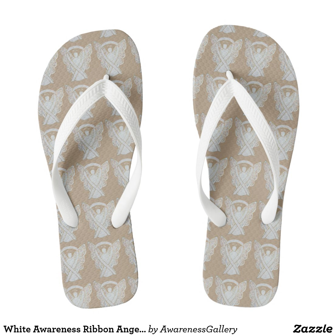 White Childhood Adoptions Awareness Ribbon Angel Custom Flip Flops