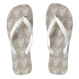 White Awareness Ribbon Angel Custom Flip Flops