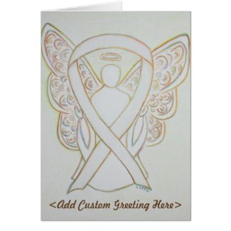 White Awareness Ribbon Angel Custom Greeting Card