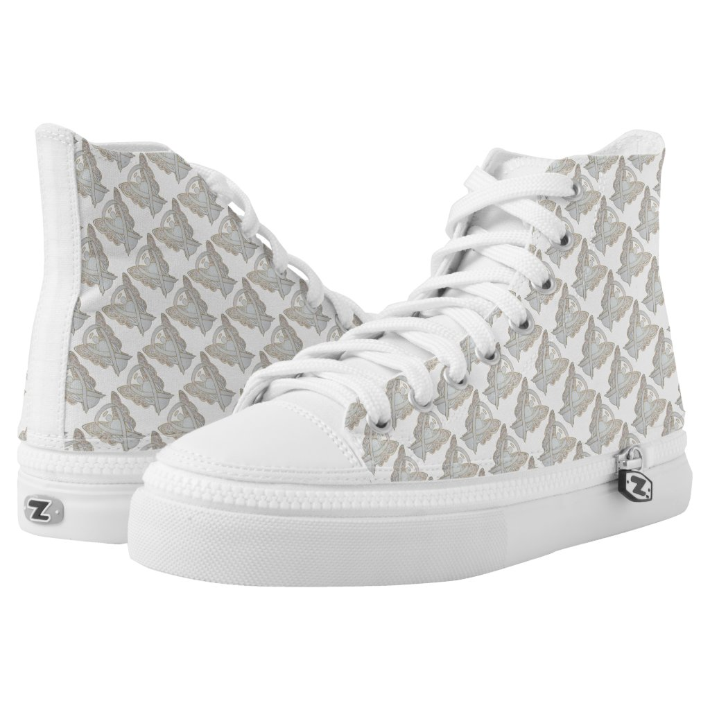 White Child Adoption Awareness Ribbon Angel Custom High Tops