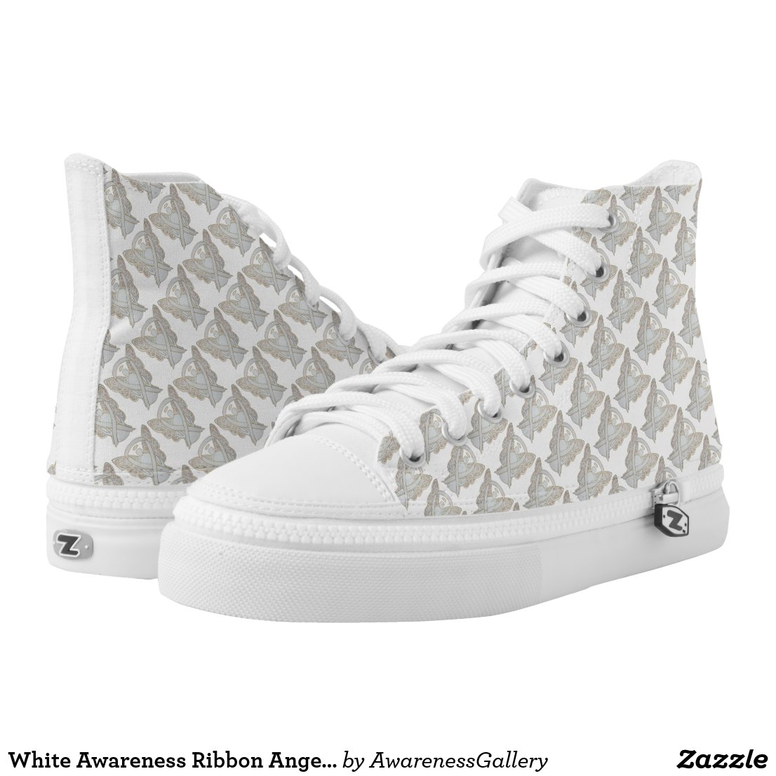 White Awareness Ribbon Angel Custom High Tops