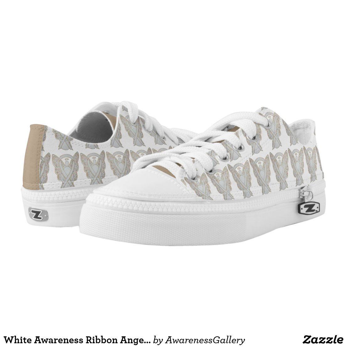 White Child Adoption Awareness Ribbon Angel Custom Sneakers