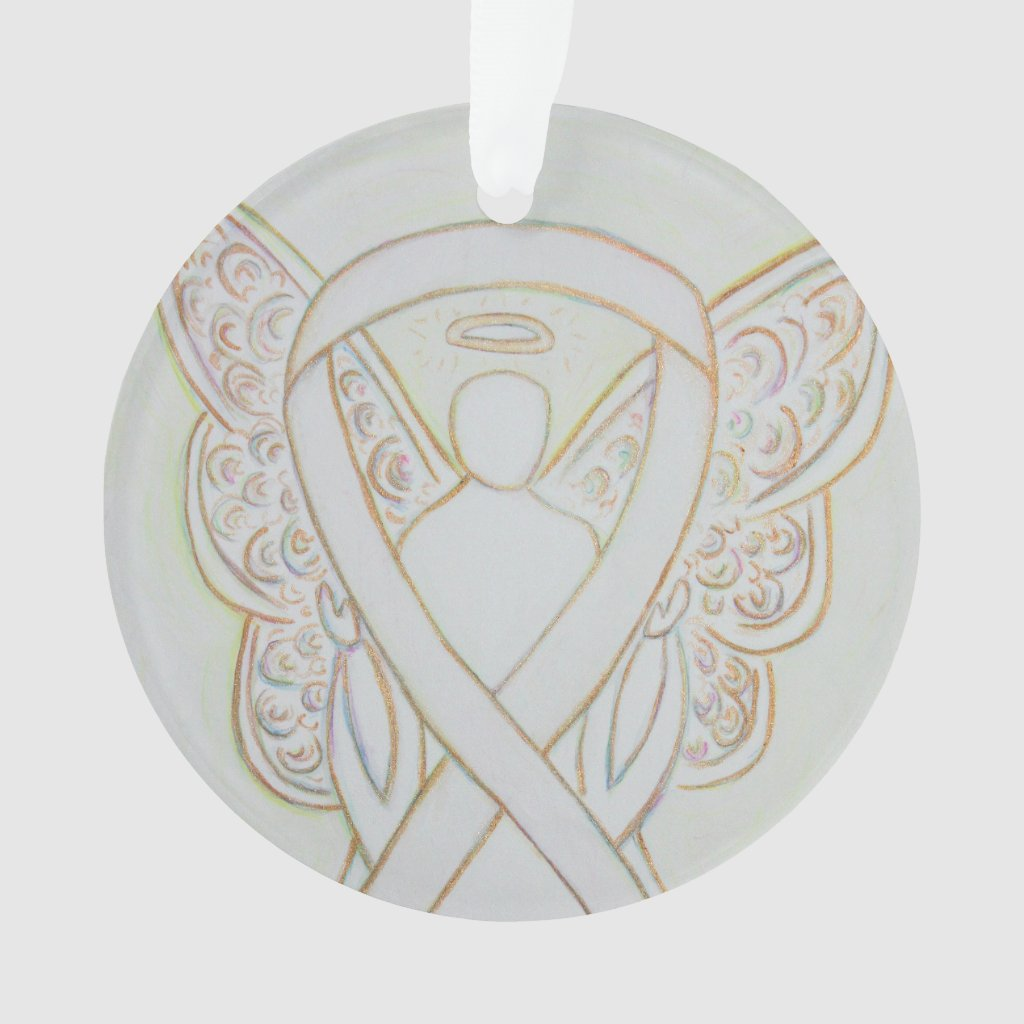 White Awareness Ribbon Angel Customized Ornaments