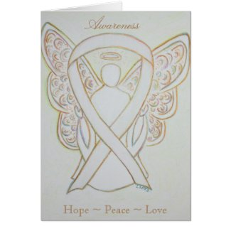 White Awareness Ribbon Angel Greeting Card