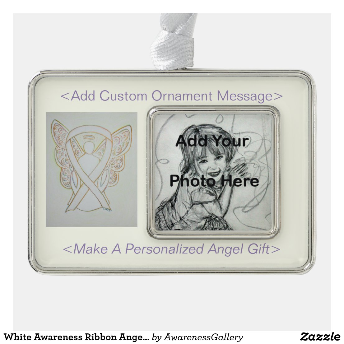White Awareness Ribbon Angel Holiday Ornaments
