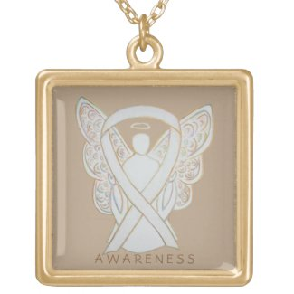 White Child Adoption Awareness Ribbon Guardian Angel Jewelry Necklace