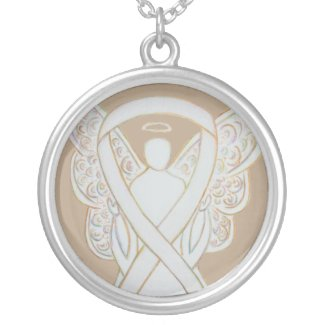 Child Adoption White Awareness Ribbon Angel Jewelry Necklace