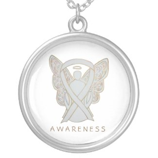 Child Adoptions White Awareness Ribbon Angel Jewelry Necklaces