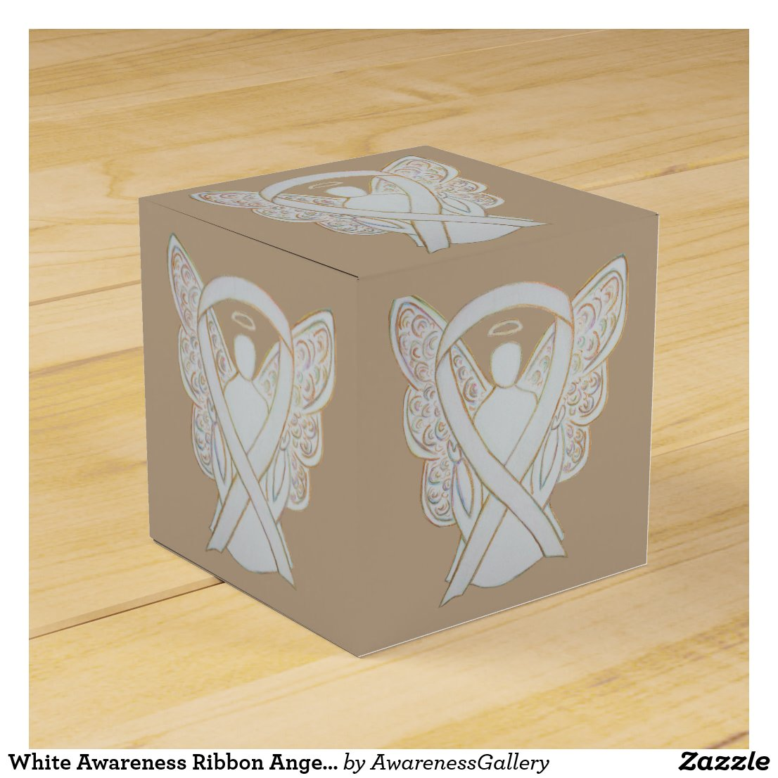Child Adoption White Awareness Ribbon Angel Party Favor Box