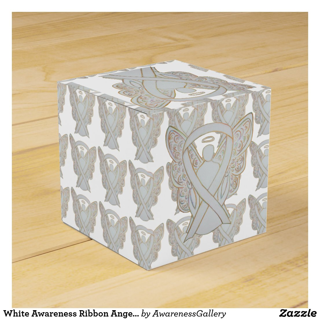 White Awareness Ribbon Angel Party Favor Boxes
