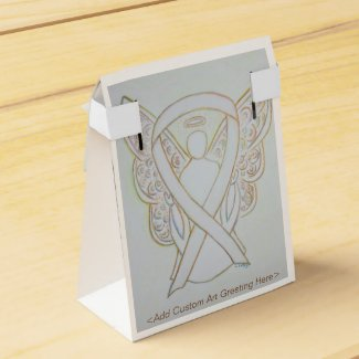 White Child Adoption Awareness Ribbon Angel Party Favor Boxes