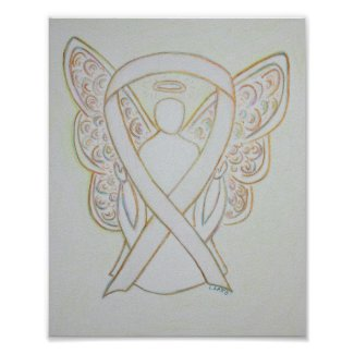 White Awareness Ribbon Angel Poster Art Print