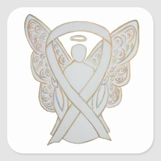 White Child Adoption Awareness Ribbon Guardian Angel Sticker Decals
