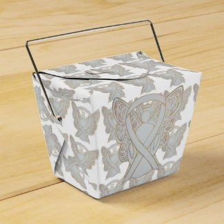 White Awareness Ribbon Angel Take Out Favor Boxes