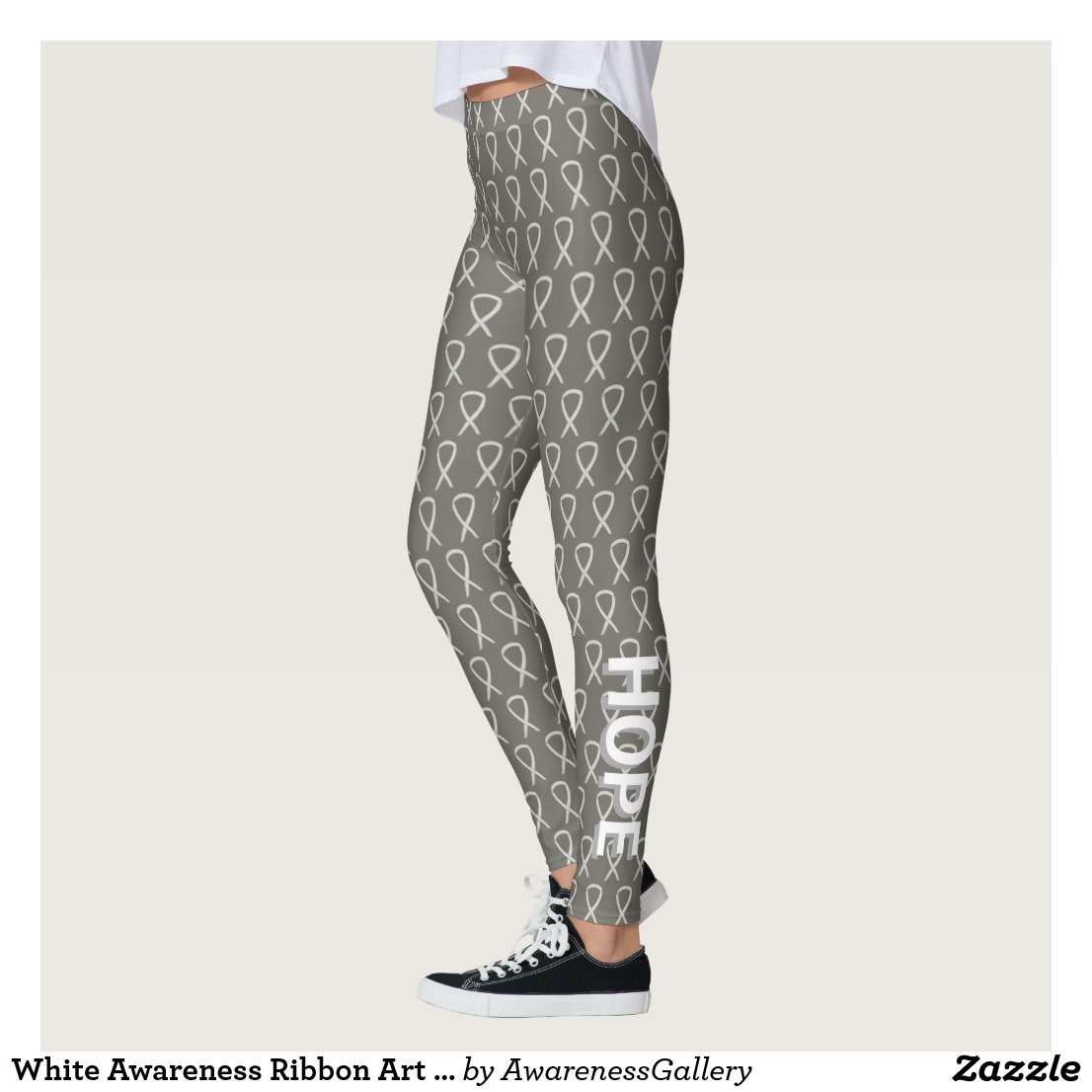 Child Adoptions White Awareness Ribbon Art Custom Words Leggings