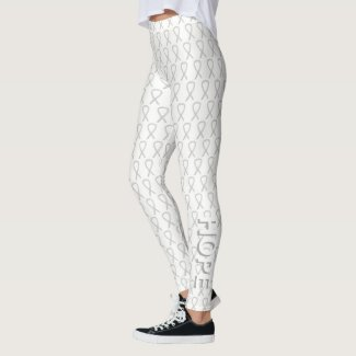 White Awareness Ribbon Art Custom Words Leggings