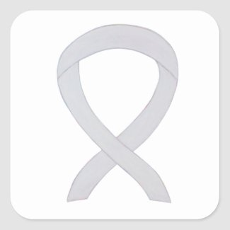 White Child Adoption Awareness Ribbon Art Decal Stickers