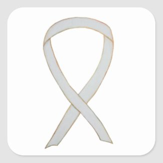 White Child Adoption Awareness Ribbon Art Stickers or Decals