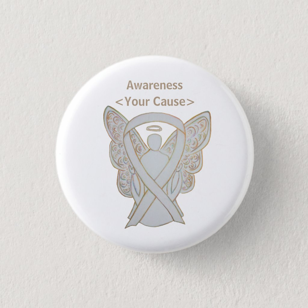 White Awareness Ribbon Custom Angel Art Pin Button