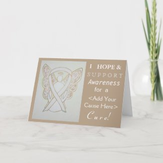White Awareness Ribbon Custom Cause Angel Cards
