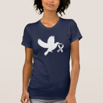 White Awareness Ribbon Dove of Hope T-Shirt