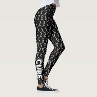 White Awareness Ribbon Hope & Cure Custom Leggings