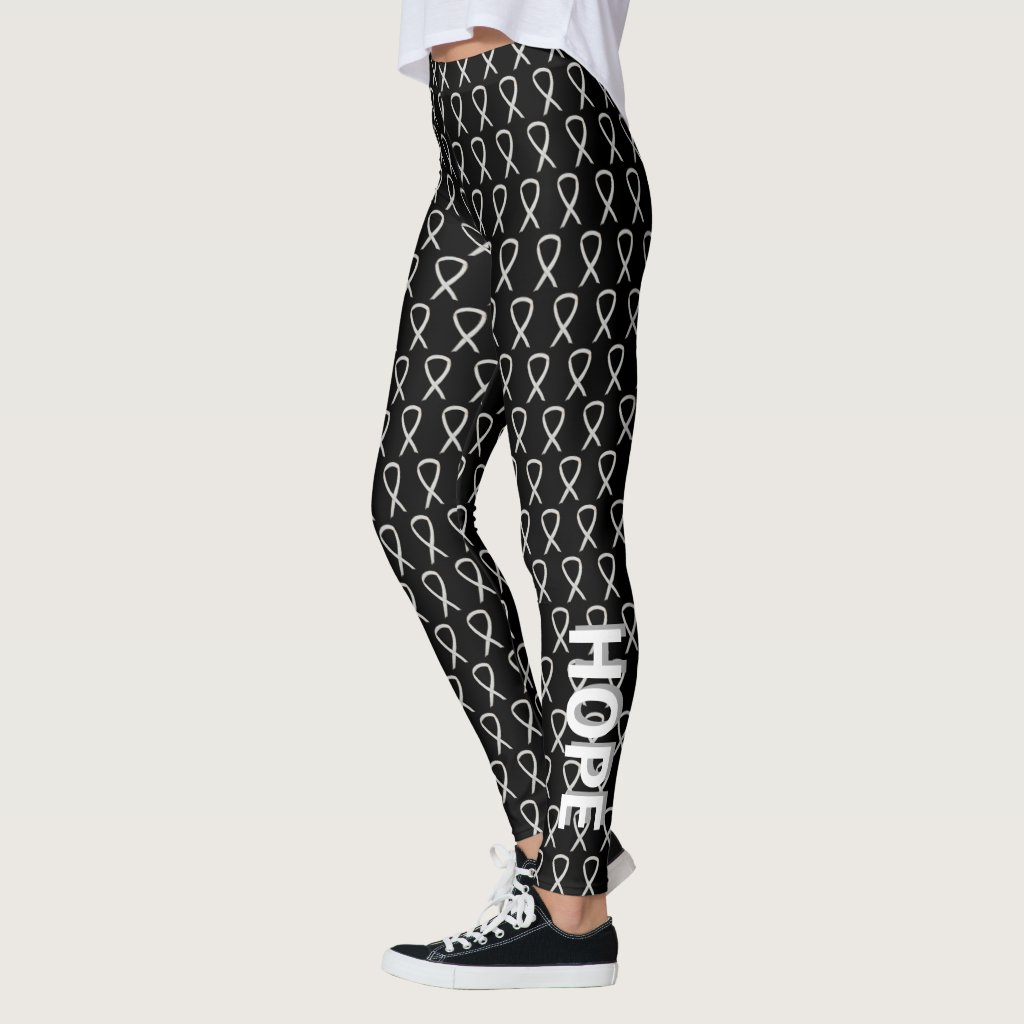 Child Adoptions White Awareness Ribbon Hope & Cure Custom Leggings