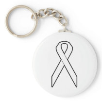 White Awareness Ribbon Keychain