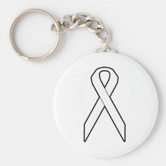 White Awareness Ribbon Keychain