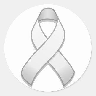 White Awareness Ribbon Round Sticker