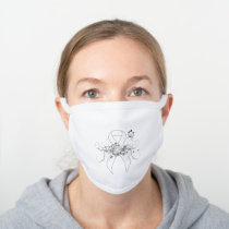 White Awareness Ribbon with Butterfly White Cotton Face Mask