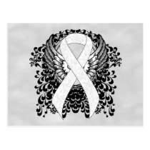 White Awareness Ribbon with Wings Postcard