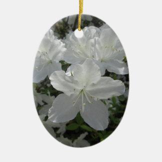 White Azalea Ceramic Ornament