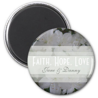 White Azalea Faith, Hope, Love Magnet