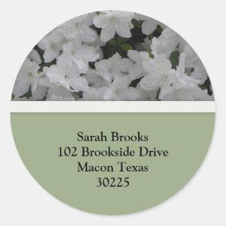 White Azaleas Address Labels Round Stickers
